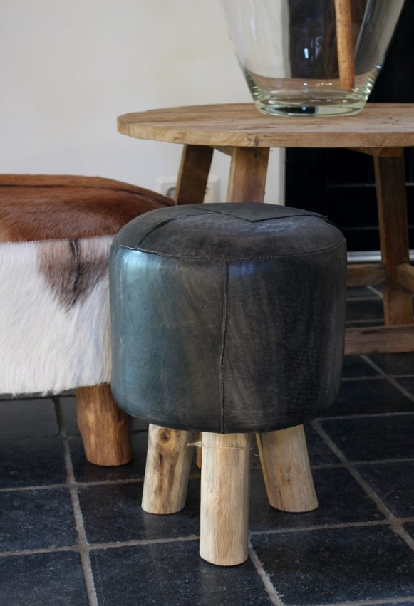 28d ronde krukjes voetenbank poef hocker leer zwart hout landelijk industrieel hal54