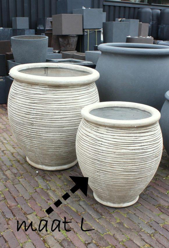 15a grote ronde bloempotten grijs antraciet wit clyfibre XL terras hal54 maat L