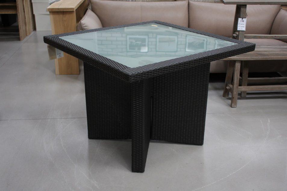 17 tuintafel terrastfel vierkant wicker glas hal54 100 x 100