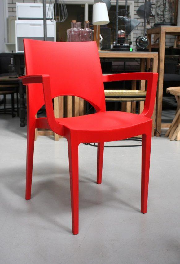2h kunststof stoelen Karel modern gekleurd rood groen oranje armleuning stapelbaar terras horeca hal54
