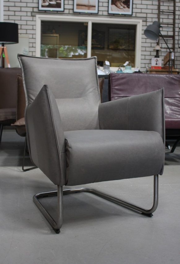 11 fauteuil Aron leer Jess design grijs leer metaal modern hal54