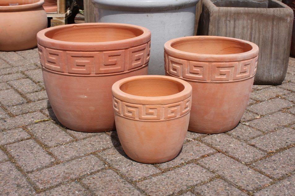 23 set van 3 ronde bloempotten terracotta hal54