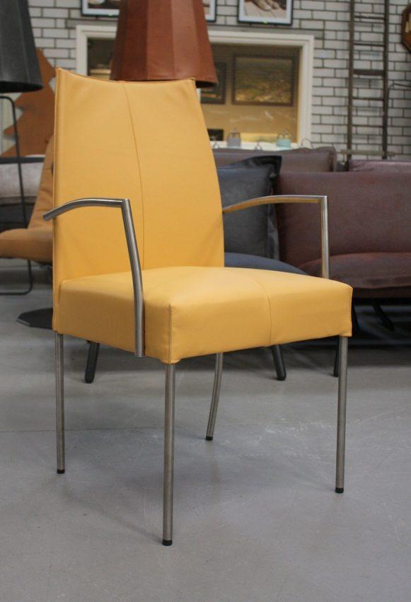37 eetkamerstoelen Vivre Jess design metaal leer geel modern hal54