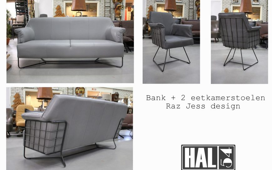 56i bank eetkamerbank Raz Jess design metaal leer grijs royal grey industrieel modern hal54
