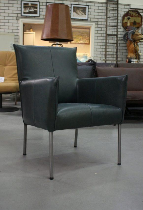61 fauteuil Triton Luxor Navy Blue Jess design leer rvs modern industrieel hal54