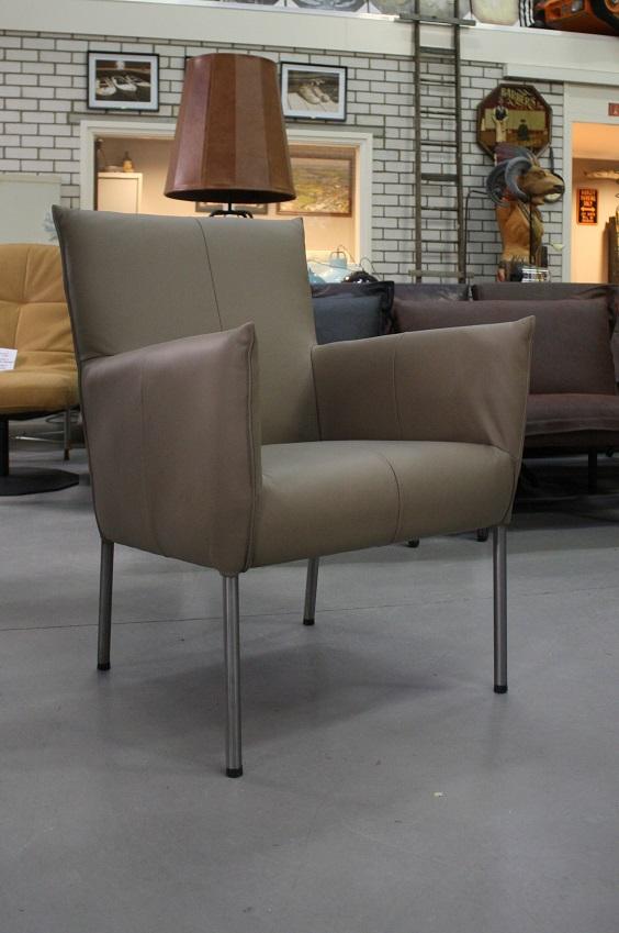 62 fauteuil Triton Toledo Mocca Jess design leer rvs modern industrieel hal54