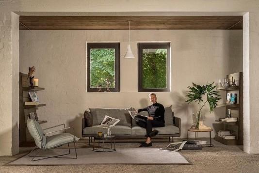 18g zitbank bank Jazz Jess design leer stof bruin grijs modern industrieel hal54-