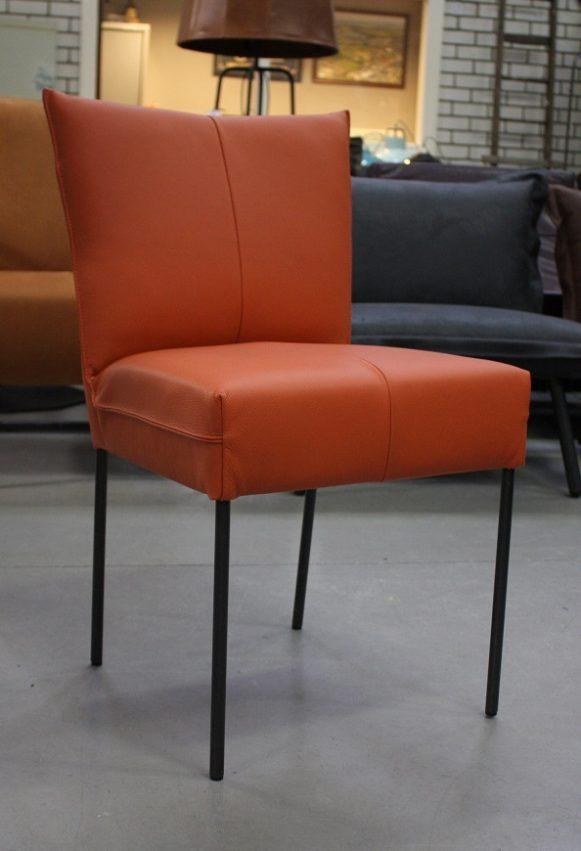 2 eetkamerstoelen Forward Jess design echt leer oranje modern hal54