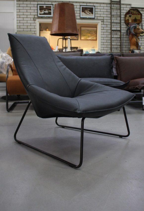 3 fauteuil Beal Jess design metaal echt leer zwart modern industrieel hal54