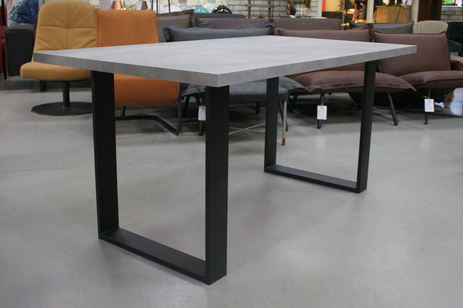 5 eettafel metaal U-poot melamine grijs beton 160 x 90 cm industrieel hal54