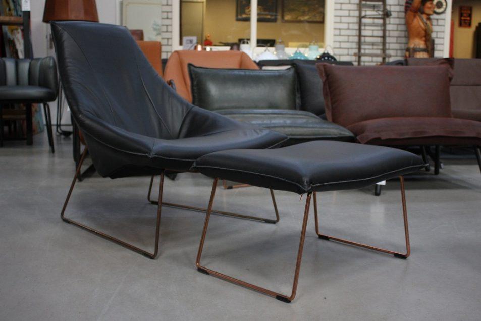 25 fauteuil + hocker Beal Jess design metaal koper leer zwart modern industrieel hal54