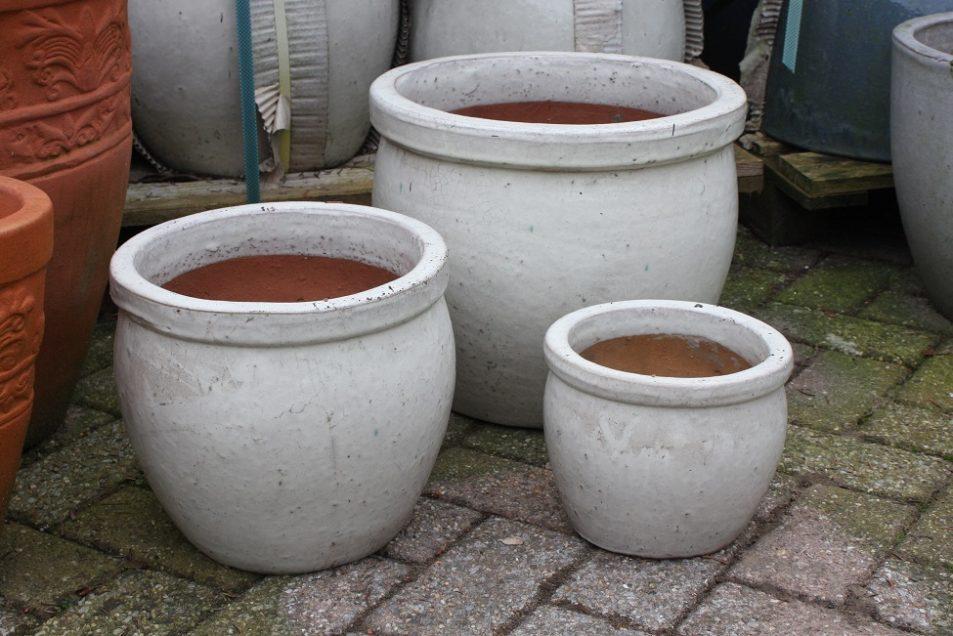 4d bloempotten bloembakken terracotta aardewerk €39.50 per set hal54-001