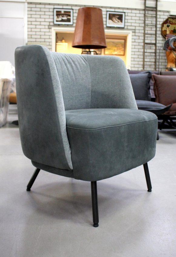 4a fauteuil Tray Jess design grijs echt leer stof modern industrieel hal54