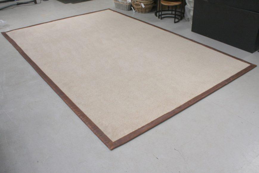 2 vloerkleed carpet karpet Lion jess design leer wol naturel bruin 200 x 300 cm hal54