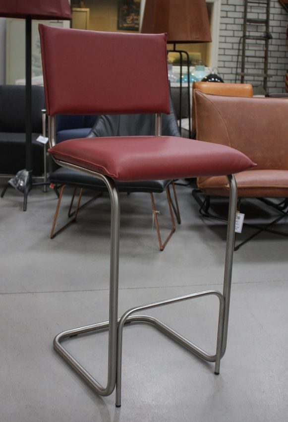 3k barstoelen barkrukken Senso metaal leer Jess design Royal red industrieel hal54