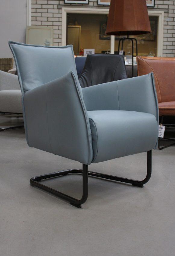 64 fauteuil Aron Jess design metaal rvs leer handgemaakt Royal Light Blue hal54 outlet sale