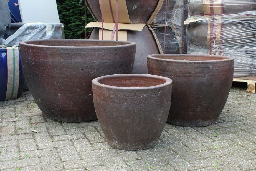 37 set van 3 grote ronde bloembakken bloempotten cement hal54