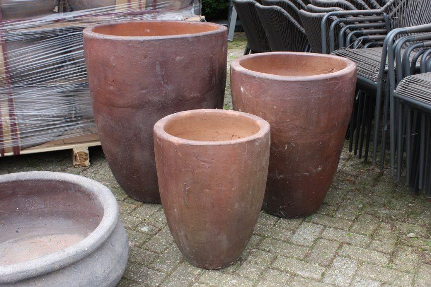 40 set van 3 grote ronde hoge bloembakken bloempotten cement hal54