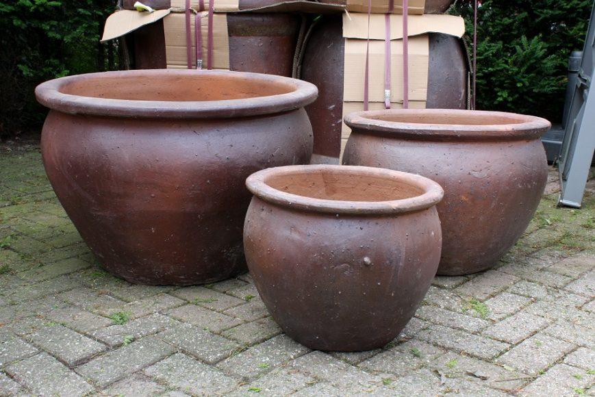41 set van 3 grote ronde bloempotten bloembakken cement hal54