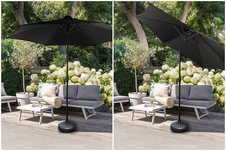 10o parasol rond 300 cm zwart taupe met voet hal54