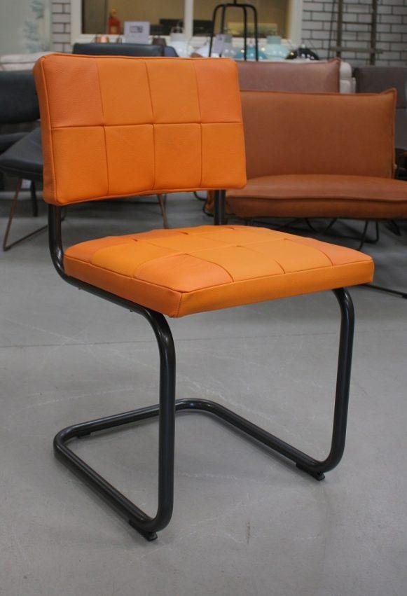 60 eetkamerstoelen Nelson Patch Jess design sledestoel metaal leer oranje industrieel hal54